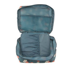 Travel Cosmetic Storage Makeup Bag Folding Hanging Toiletry Wash Organizer Pouch Blue Flower