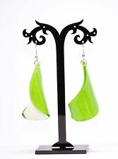 Green Plastic Long Drop Dangle Earrings 1980'
