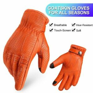 Unisex Soft Leather Gloves Touch Screen Breathable Motorcycle Cycling Mittens