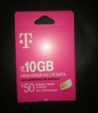 New listing T-Mobile Sim card kit With Prepaid plan $50 - 10Gb 4G Lte First Month Included