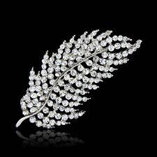 Bridal Silver Crystal Rhinestone Sparkly Feather Brooch Pin Bouquet Wedding Gift