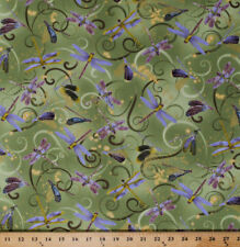 Dance of the Dragonfly Dancing Dragonflies Green Cotton Fabric Print BTY D363.18