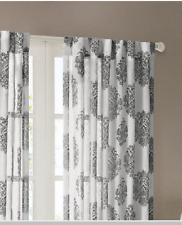 """*Madison Park Addison Rod-Pocket Window Curtain Sheer Panel 52""""X 95"""" Gray/Ivory"""