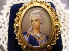 18 KT ITALY BROOCH / PENDENT HAND PAINTED PORTRAIT SIGNED