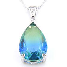 Teardrop London Blue Topaz Gemstone Fashion Silver Necklace Pendants Jewelry