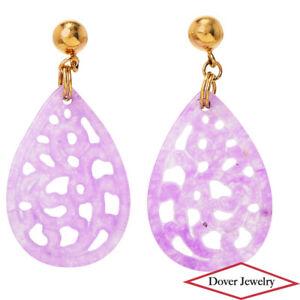 Estate Lavender Jade 14K Gold Lovely Carved Dangle Drop Earrings NR