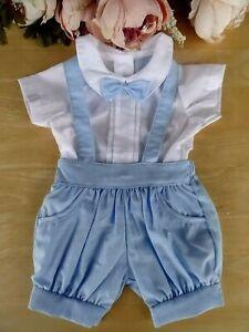 Spanish Style Traditional 2 Pc Baby Boy Blue Set Bowtie Shirt Dungaree 0-3-6-9m