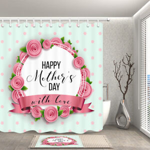Waterproof Fabric Bath Shower Curtain Pink flower with love Happy Mothers' Day
