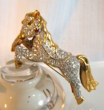 Vintage Stunning Large Dimensional Rhinbestone Horse Shoulder Feature Pin Brooch