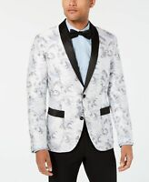 INC Mens Blazer Gray Size XL Tuxedo Floral Printed Contrast-Trim $149 #291