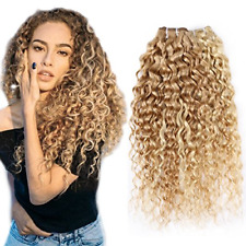 FASHION LINE Brazilian P27/613 Water Wave Curly Blonde Human Hair Extensions 1PC