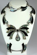 Silver Onyx Abalone Necklace Bracelet Earrings Vtg Set Signed Ar Mexico Sterling