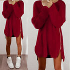 Women Asymmetrical Hem Short Mini Dress Irregular Long Shirt Tops Blouse AU 6-16
