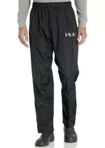 HUK Men's CYA Packable LARGE Black WATERPROOF Wind proof Fishing Rain Pants $99
