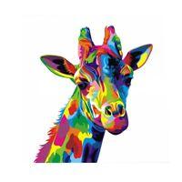 Colourful Giraffe Animal Canvas Painting Print Picture Wall Art Unframed De E7B0