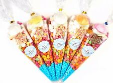 10 x Pre filled Kids blue Christening Sweet party cone Bags free postage