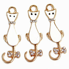 10pcs Lots Gold Plated White Enamel Rhinestone Alloy Cat Pendant Fit Necklace J