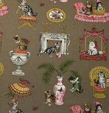 "P KAUFMANN FABULOUS FELINES TAN BEIGE D4142 CAT KITTEN TOILE FABRIC BY YARD 54""W"