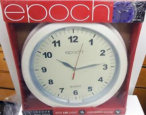 "EPOCH 13"" WALL CLOCK- WHITE- WITH LED LIGHT"