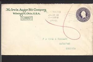 "WILMINGTON, OHIO 1918 COVER ADVT ""IRWIN AUGER BIT COMPANY"" CLINTON CO. 1813/OP."