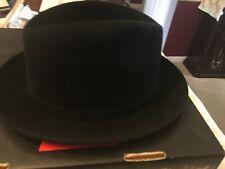 dobbs fedora Fur Felt Hat 7 1/2 Black Mint Condition In Box