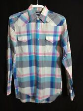 Wrangler Vintage Pearl Snap Up Plaid Western Shirt Size 14 1/2 x 33