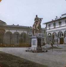 Annunziata Plaza, Florence, Italy, Old Color Magic Lantern Glass Slide