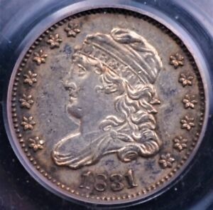 1831 CAPPED BUST HALF DIME PCGS XF45 SILVERY OBVERSE TONE AT RIMS AND REVERSE