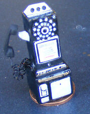 Dolls House Miniature 1950's Style Black Pay Phone Shop Cafe Accessory Telephone