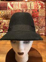 Vintage Black Hat Wool Felt 22 Fedora
