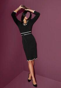 Kleid Strick Kleid Creation L schwarz weiß knielang Gr 40 44
