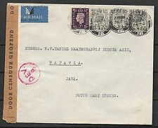 Great Britain covers 1940 cens Airmailcover Manchester to Batavia
