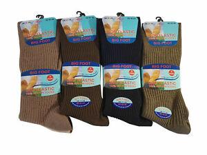 6 Pairs Mens Big Foot 100% Cotton Non-elastic Socks Size 6-14 Diabetic Wide Fit