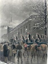 "Edouard Detaille - Lithograph & Guache Paint Accents -""Cuirassier"" (Calvary Men)"