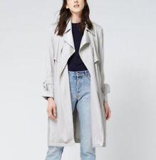 Warehouse Soft Grey Drape Belt Tie Sleeve Light Trench Mac Duster Coat 6 8 - 16