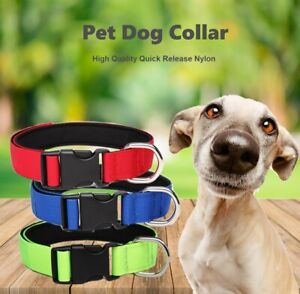 Pet Dog Collar High Quality Quick Release Nylon Webbing Collars S-XL