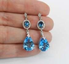 7.48 ct Pear Swiss Blue Topaz & Simulated Diamond Women's Drop Earrings Silver