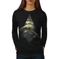 Wellcoda Shark Great White Womens Long Sleeve T-shirt, Wild Ocean Casual Design