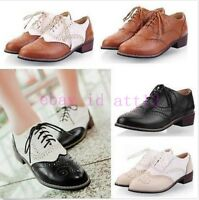 Lady Preppy Shoes Fashion Oxford Retro Brogue Girl Low Heel Wingtip Lace UP Gift