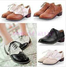 Womens Low Heel Wingtip Lace Up Oxford Retro Brogues Girl Preppy Shoes All US Sz