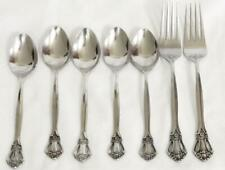 7 pc LOT VINTAGE NATIONAL BIARRITZ STAINLESS FLATWARE SPOONS & DINNER FORKS