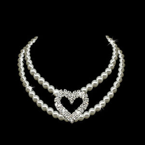 Fashion Pet Dog Pearl Necklace Bling Heart Cat Collar Dog Jewelry for Terrier