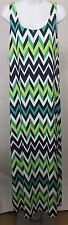 Jessica Howard Missy L Maxi Dress Sleeveless Chevron Blue Green White Sundress