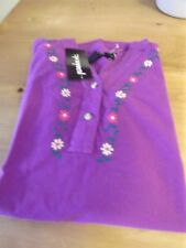 NEW HOBNOB INC PURPLE EMBROIDERED SHIRT 100% COTTON NWT L-XL