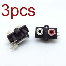 3Pcs Av Socket Connector Audio Video Jack Pcb Mount 2 Rca Female Stereo Aux