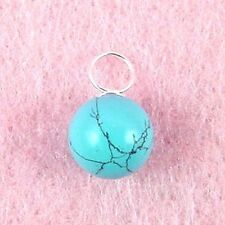 Sterling Silver - 10mm Turquoise Ball Pendant (PD481)