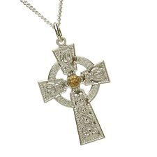 Sterling Silver With 14k Yellow Gold Bead Medium Warrior Shield Celtic Cross 30m