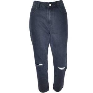 Jeans donna momfit a vita alta high waist lavaggio scuro black denim  strappo al