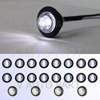 """20X Mini 12V 3/4"""" Round Marker Tailer Light White Clearance 3 LED bullet Grommet"""