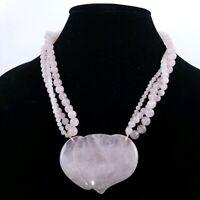 Vintage Pink Rose Quartz Multi Strand Heart Necklace